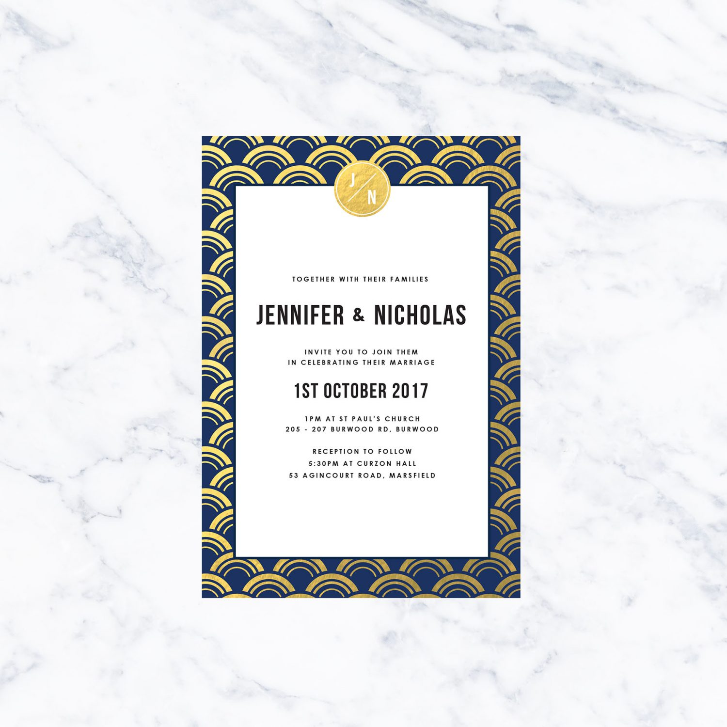 Navy And Gold Foil Art Deco Wedding Invitations