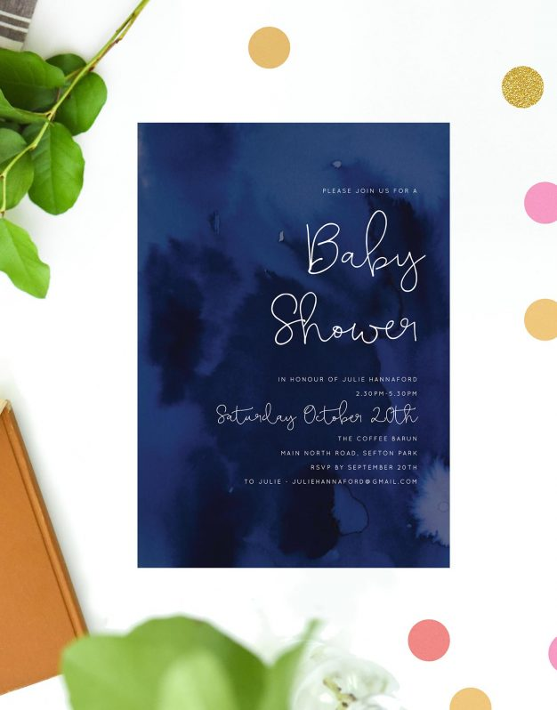 Navy Watercolour Baby Shower Invitations Deep Navy Script Melbourne Adelaide Sydney Brisbane Perth Boy Sail and Swan