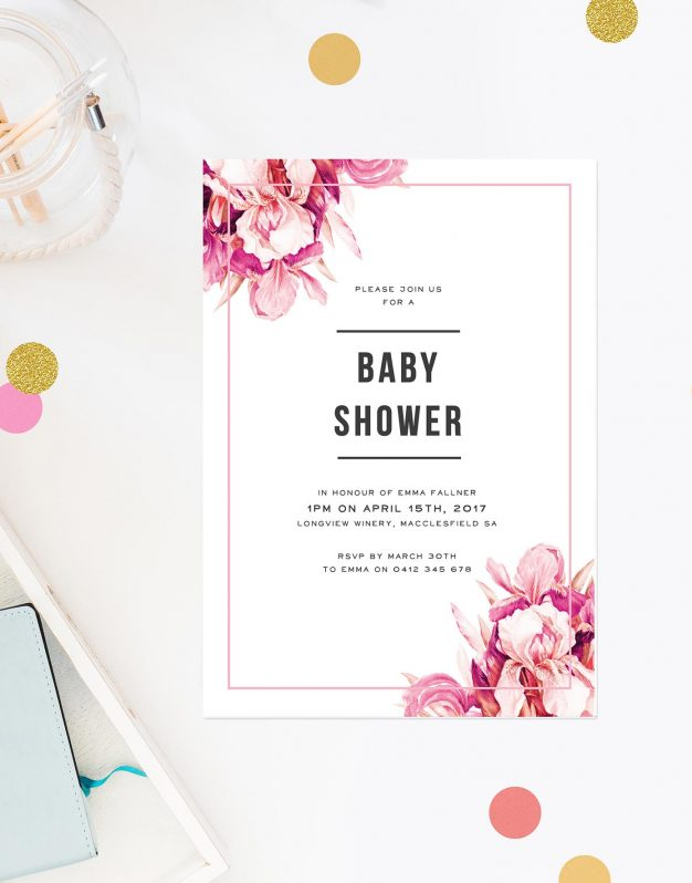 Pink Petals Baby Shower Invitations Girl Floral Border Contemporary Modern Sail and Swan Perth Melbourne Brisbane Adelaide