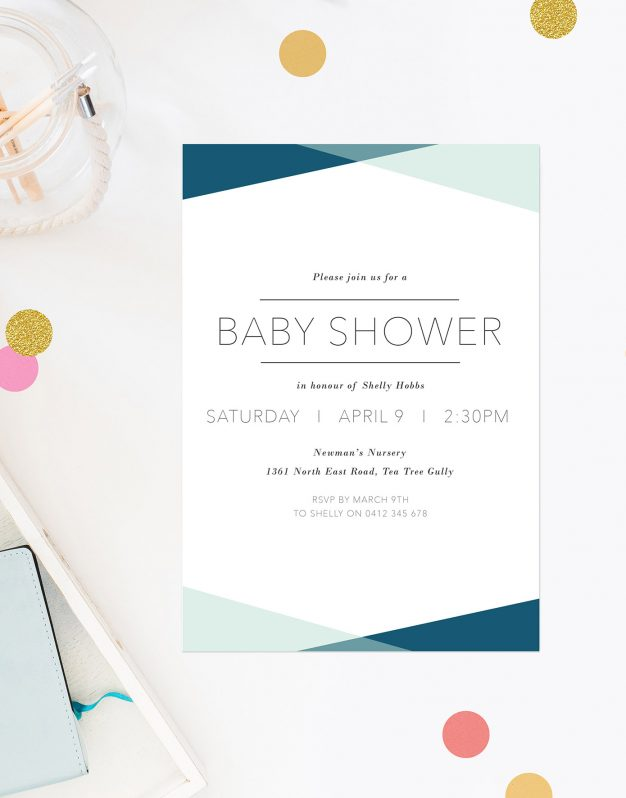 Blue Triangles Baby Shower Invitations Contemporary Font Sail and Swan Australia Perth Adelaide Brisbane Melbourne Sydney