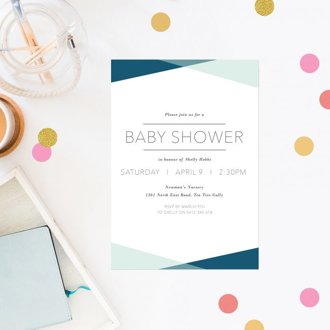 Baby shower invitations australia by sail and swan blue triangles baby shower invitations contemporary font sail and swan australia perth adelaide brisbane melbourne sydney filmwisefo