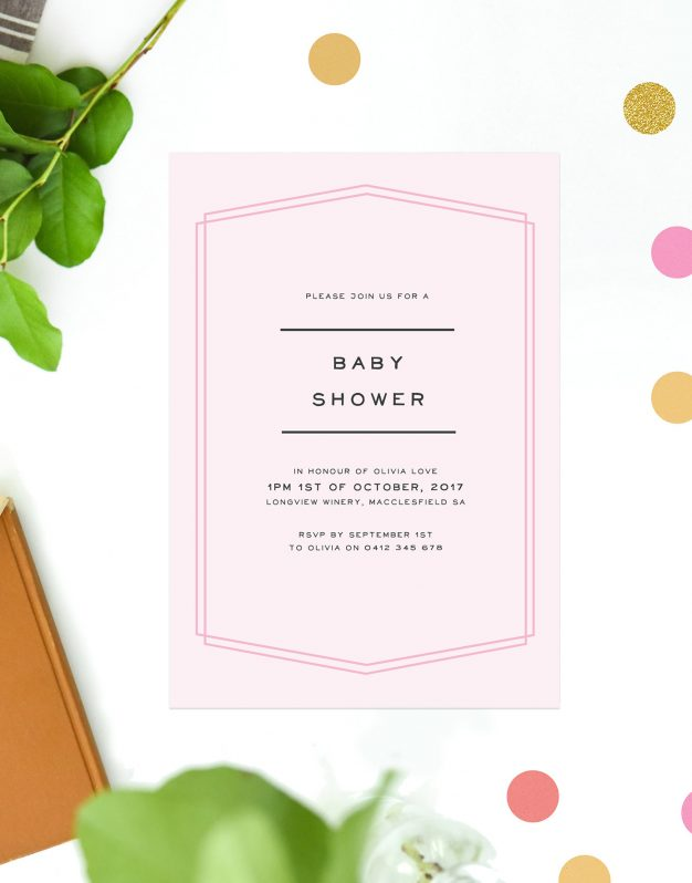 Pink Border Girl Baby Shower Invitations Pastel Pink Simple Contemporary Font Sail and Swan Australia Perth Adelaide Brisbane Melbourne Sydney