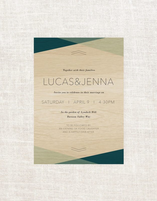 Blue Geo Wooden Wedding Invitations Wood Grain Blue Triangles Ocean Colours Turquoise Simple Contemporary Australia Sail and Swan