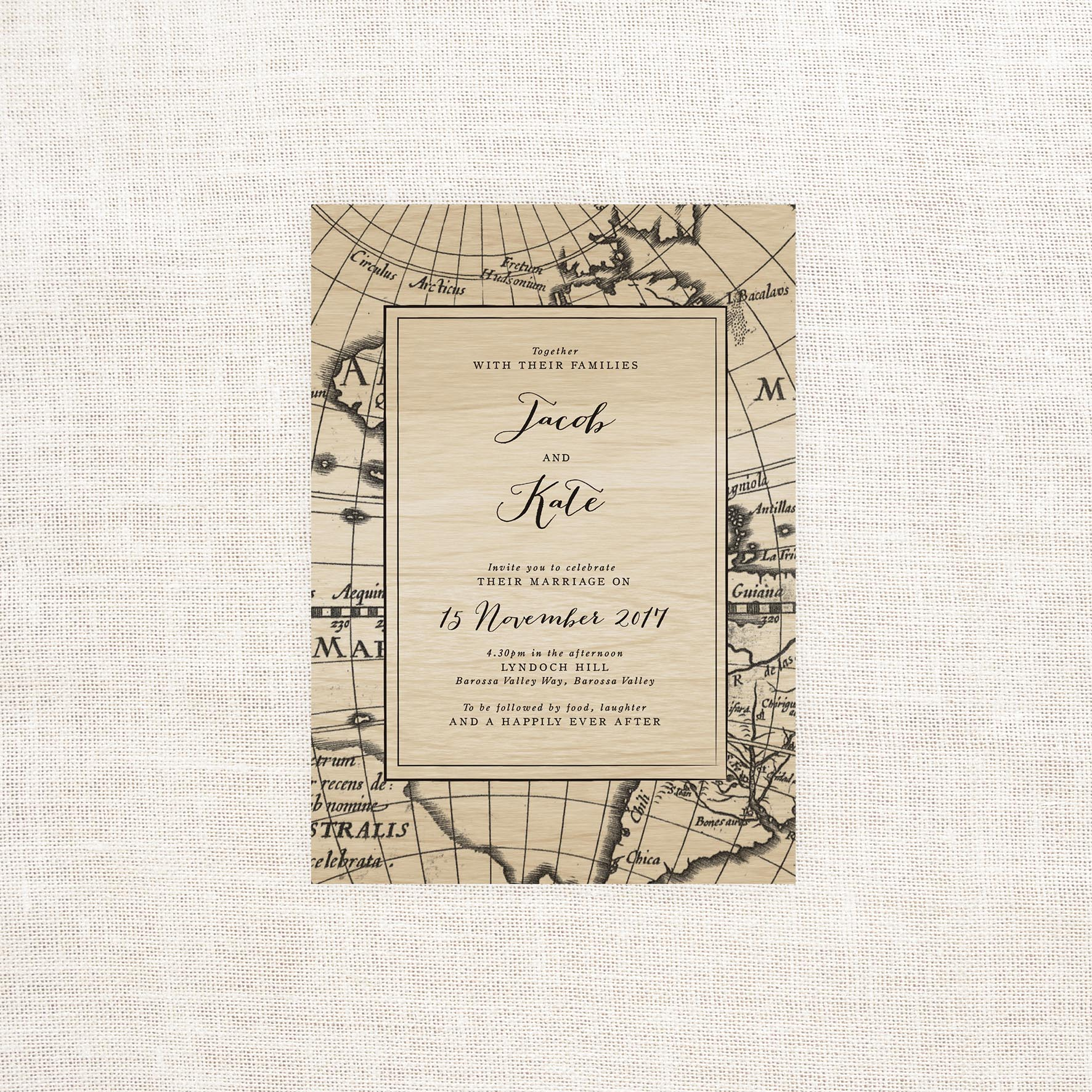 Vintage Map Wooden Wedding Invitations - Sail and Swan Studio