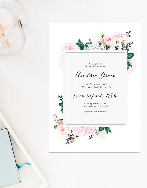 Berry Floral Christening Invitations Garden Flowers Berries Sail and Swan Australia Catholic Ceremonies Religious Invites