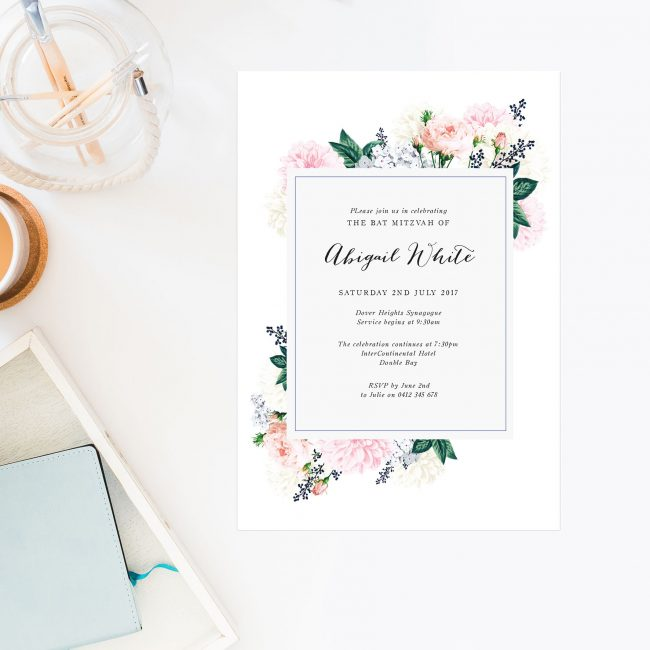 Floral Bat Mitzvah Invitations Sydney Perth Melbourne Brisbane Australia Bat Mitzvah Invites Sail and Swan