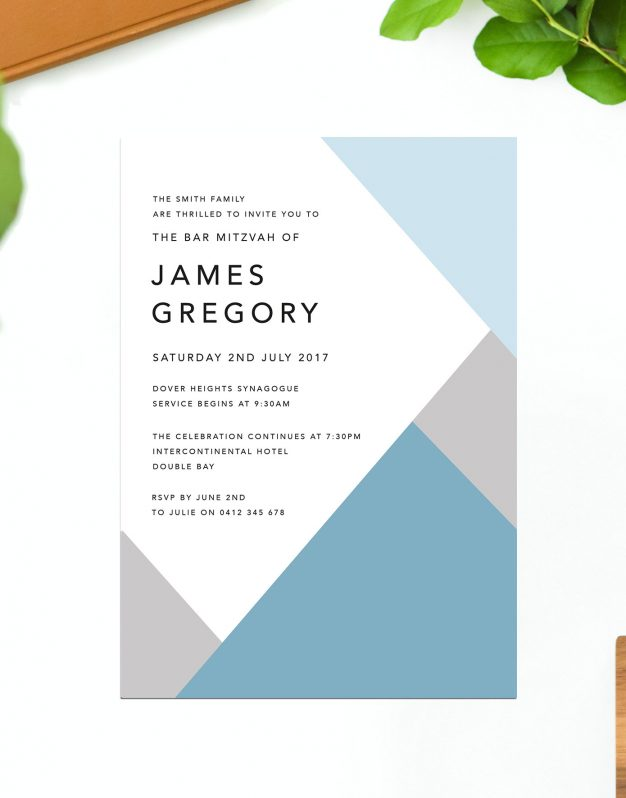 Elegant Bar Mitzvah Invitations Sydney Perth Melbourne Brisbane Bar Mitzvah Invitations Australia Blue Grey Modern Simple Sail and Swan