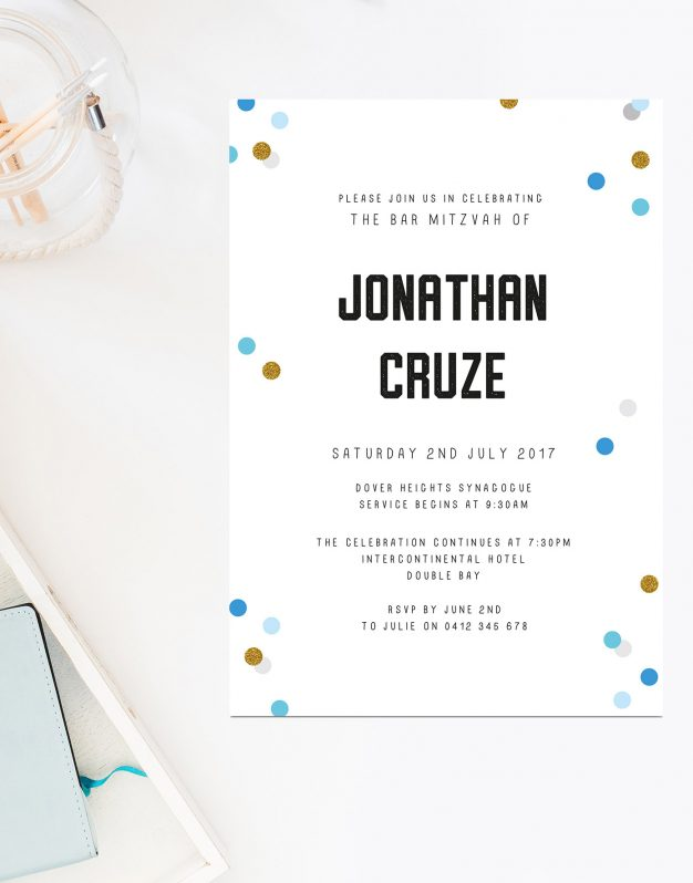 Blue Confetti Bar Mitzvah Invitations Sail and Swan Australia Religious Invitations Kids Formal Religious Invites Jewish Ceremonies