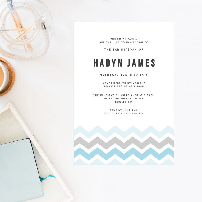 Chevron Bar Mitzvah Invitations Pale Blue Sky Blue Grey Light Block Letters Boy Jewish Ceremonies Religious Invitations Sail and Swan Australia