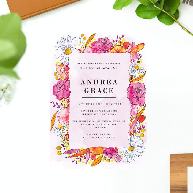 Bright Florals Bat Mitzvah Invitations Pink Orange Daisy Garden Flowers Girly Fun Sail and Swan Australia Jewish Ceremonies Religious Invites