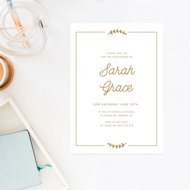 Gold Olive Branch Christening Invitations Gold White Calligraphy Sail and Swan Australia Religious Invitations Baby Catholic Ceremonies Celebration