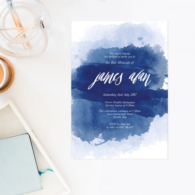 Navy Splash Bar Mitzvah Invitations Watercolour Ink Script Calligraphy Blue White Jewish Ceremonies Religious Invites Sail and Swan Australia