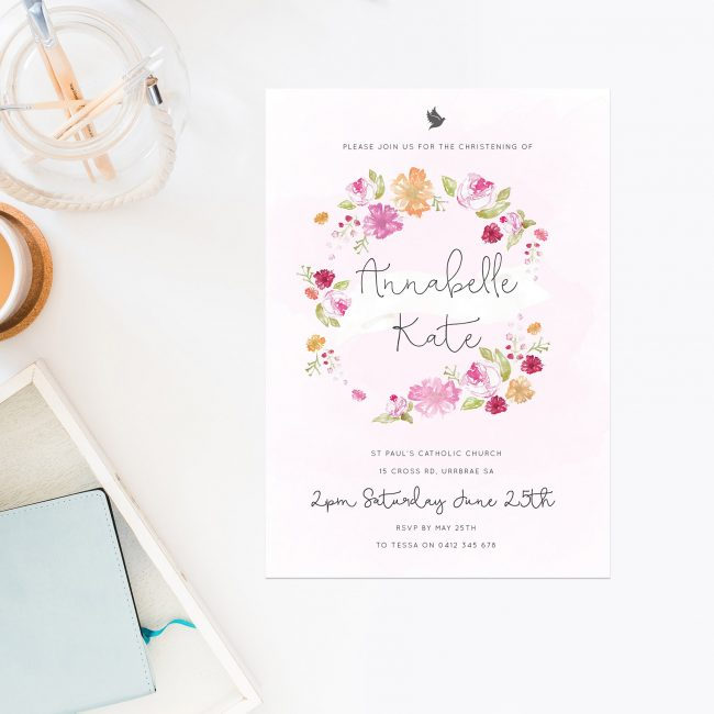 Flower Wreath Christening Invitations Pastel Watercolour Pretty Floral Pink Baby Girl Sail and Swan Australia Religious Invitations Baby Catholic Ceremonies Celebration