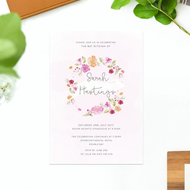 Flower Wreath Bat Mitzvah Invitations Watercolour Pink Hand Illustrated Flower Wreath Bat Mitzvah Invitations