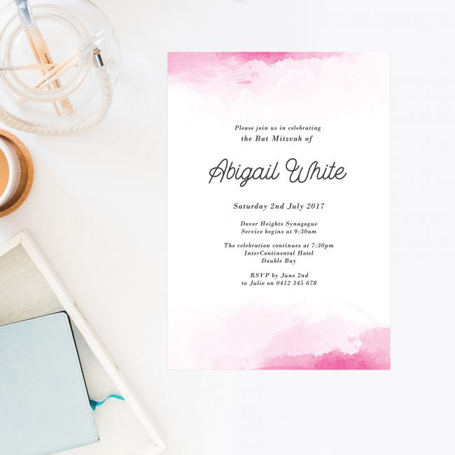 ink Watercolour Bat Mitzvah Invitations Sail and Swan Australia Jewish Ceremonies Religious Invites