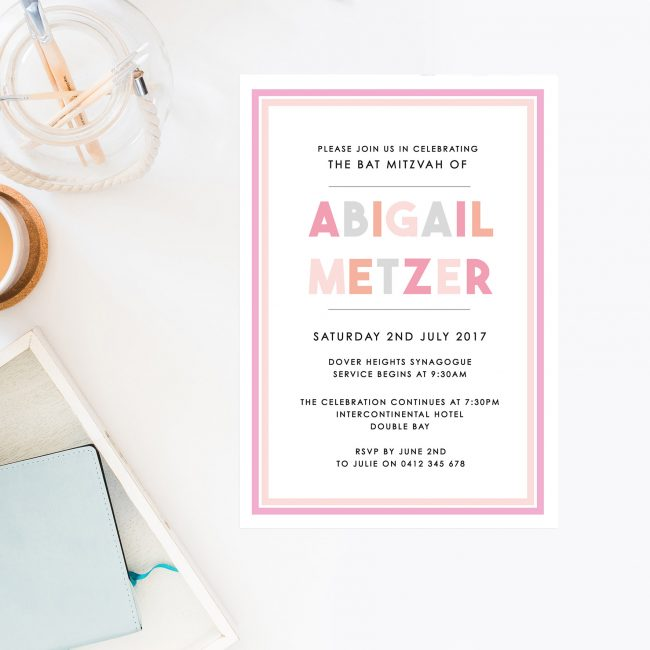 Bold Pink Bat Mitzvah Invitations Pastel Pink Grey Block Font Sail and Swan Australia Jewish Ceremonies Religious Invites