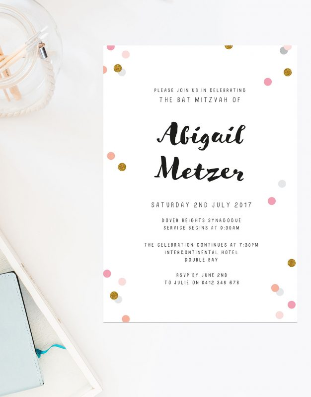 Pink Confetti Bat Mitzvah Invitations Gold Pink Calligraphy Sail and Swan Australia Jewish Ceremonies Religious Invites