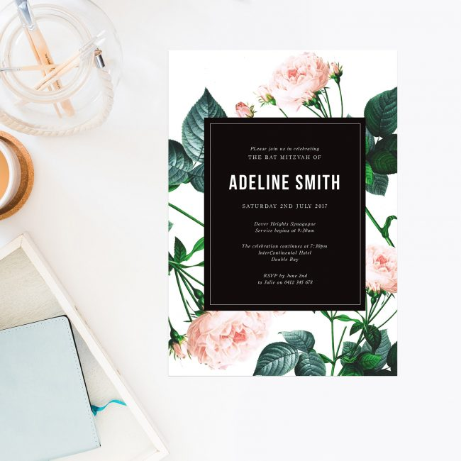 Modern Rose Bat Mitzvah Invitations Blush Black White Green Sail and Swan Australia Jewish Ceremonies Religious Invites