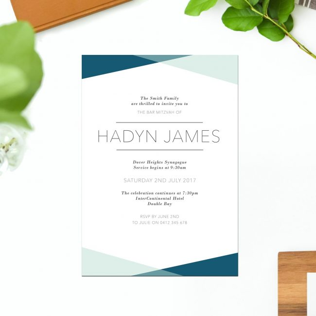 Blue Triangles Bar Mitzvah Invitations Blue White Jewish Ceremonies Religious Invites Sail and Swan Australia