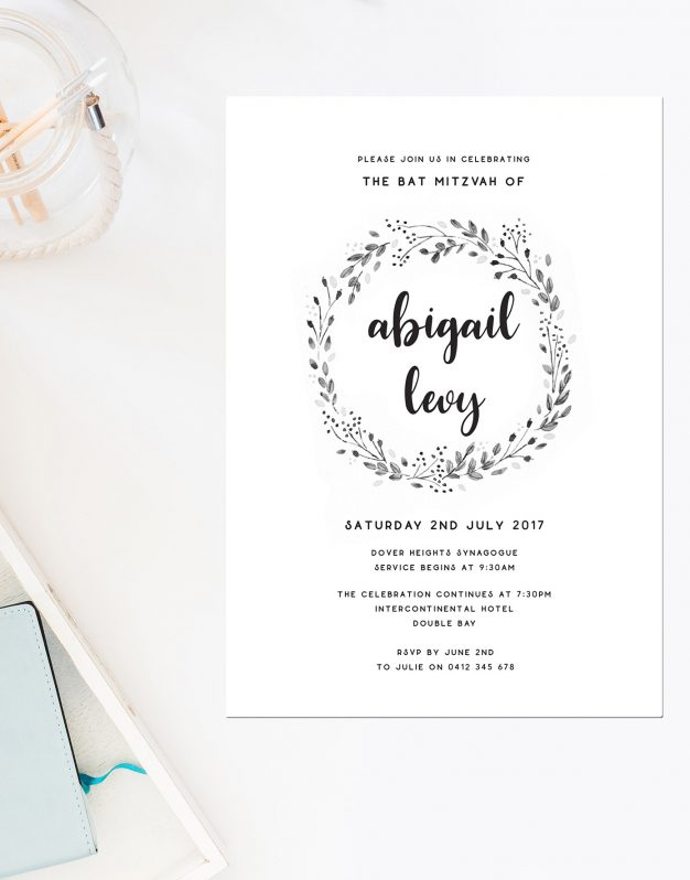 Rustic Wreath Bat Mitzvah Invitations Monochrome Greyscale Laurel Wreath Sail and Swan Australia Jewish Ceremonies Religious Invites