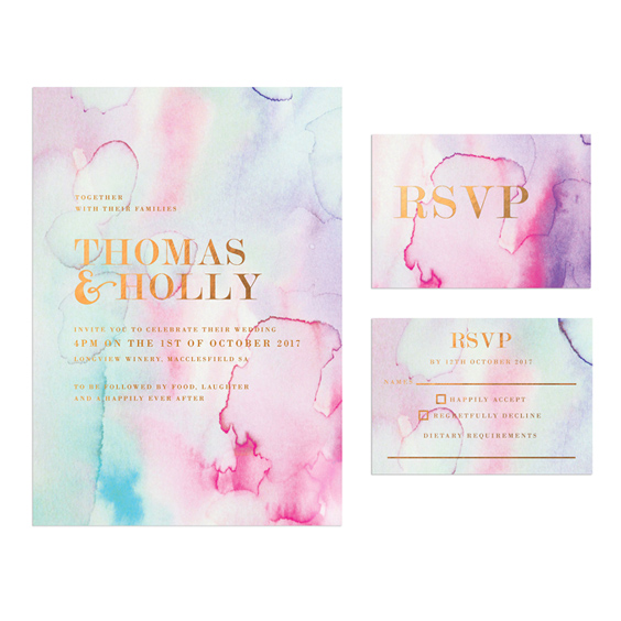 Bronze Foil Watercolour Wedding Invitations
