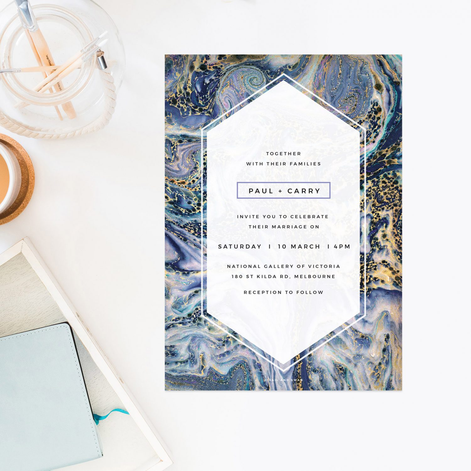 Blue Purple and Gold Marbled Wedding Invitations - Midnight Marble
