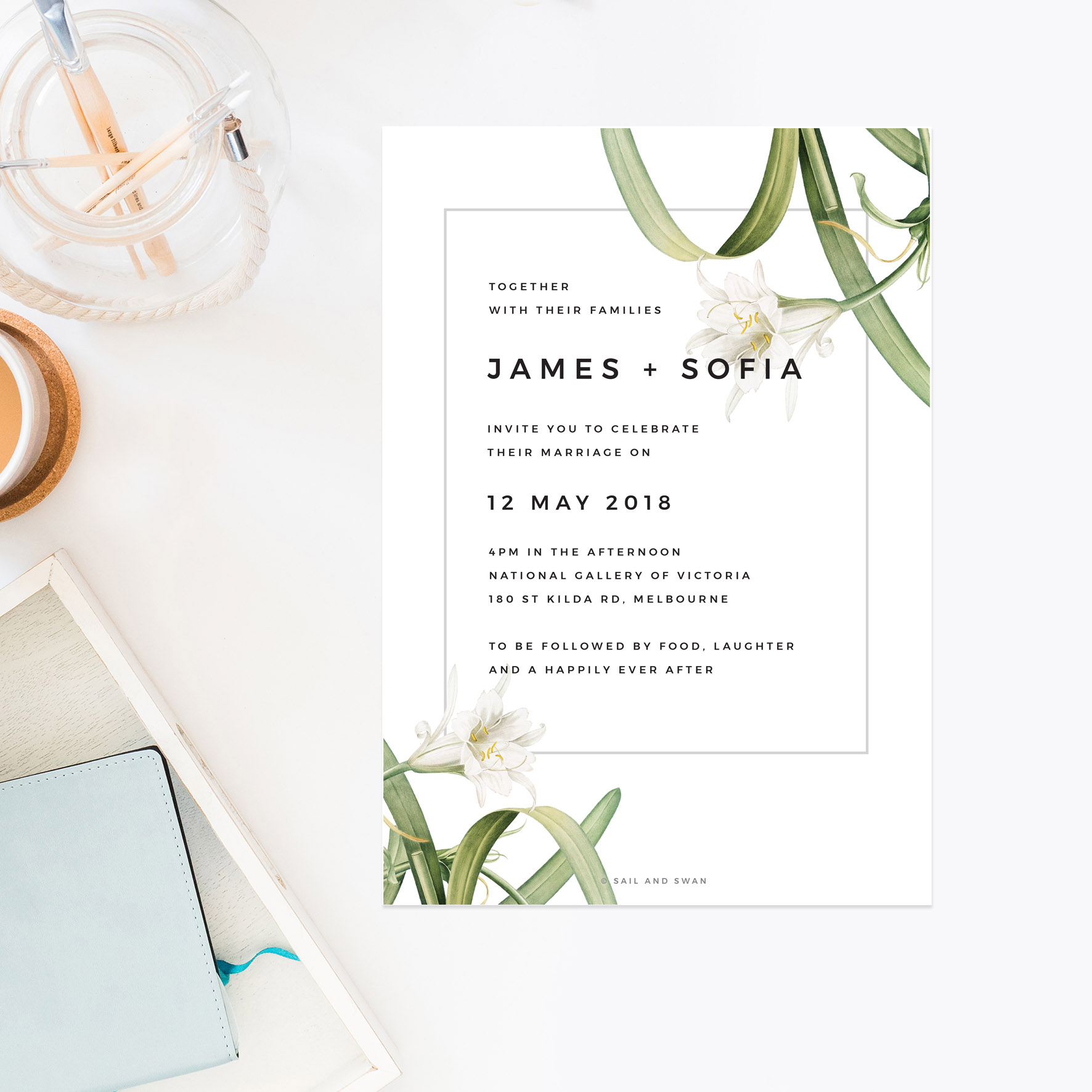 Green White Black Modern Vintage Botanical Wedding Invitations - Lily
