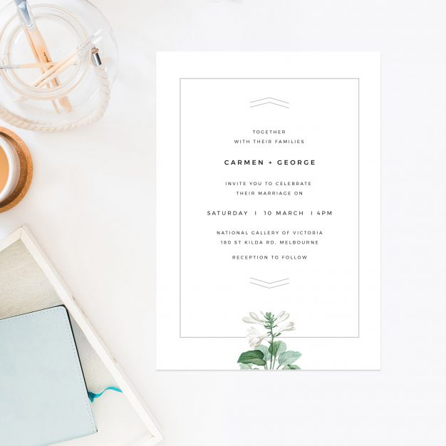 Green White Navy Modern Botanical Wedding Invites Green White Floral Wedding Invitations Contemporary Chic Simple Elegant Stationery Australia Perth Sydney Melbourne Brisbane Sail and Swan