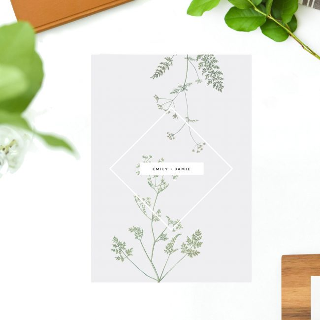 Pale Grey Modern Botanical Wedding Invites Greenery Green and Grey Leaves Foliage Contemporary Natural Chic Elegant Wedding Invitations Australia Sydney Perth Melbourne Brisbane Sail and Swan