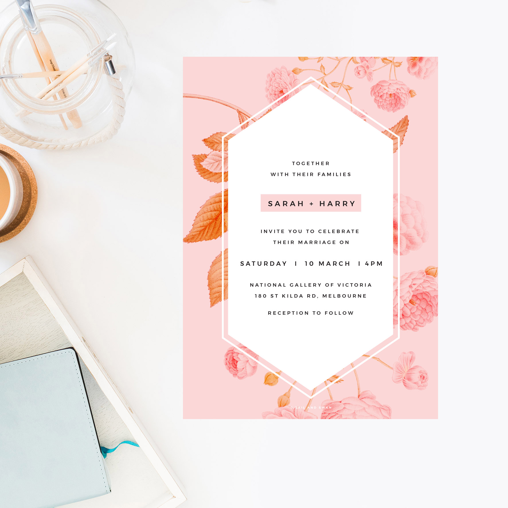 Light Pink Modern Botanical Wedding Invitations - Contemporary Florals