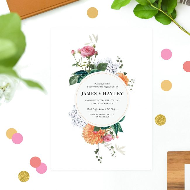 Vintage Botanical Engagement Invitations Australia Sydney Perth Melbourne Canberra Brisbane United States New York Los Angeles California New Zealand Auckland Sail and Swan