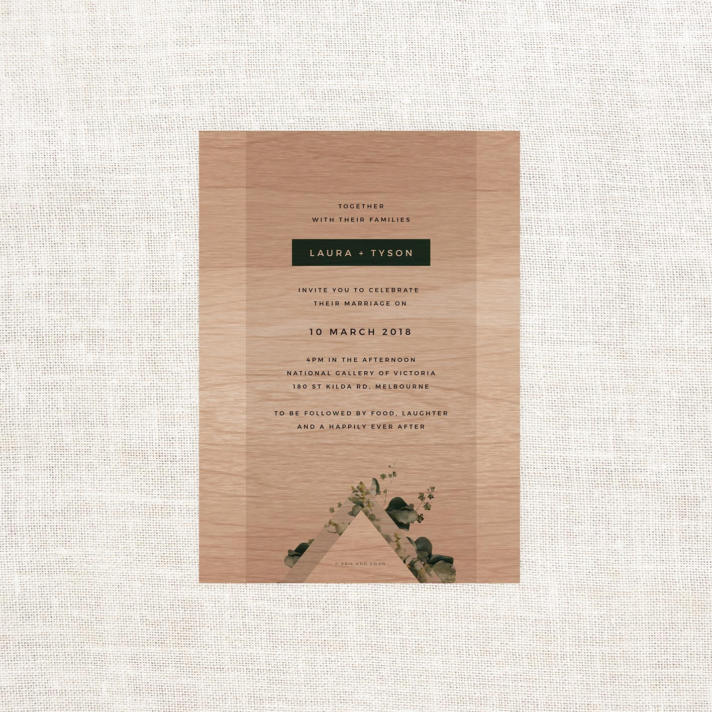 Green Natural Modern Wooden Wedding Invitations