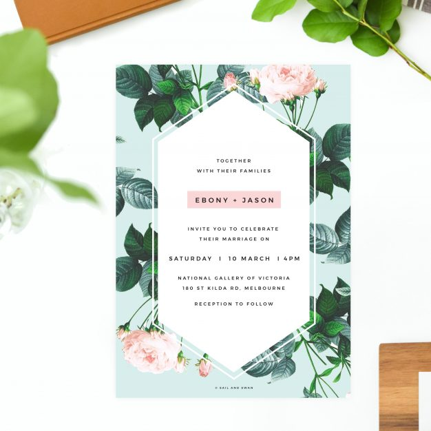 Floral Rose Mint Green Pastel Wedding Invitations - Modern Invites Rose Roses Pink Green Modern Wedding Stationery Australia Sydney melbourne perth brisbane canberra sail and swan