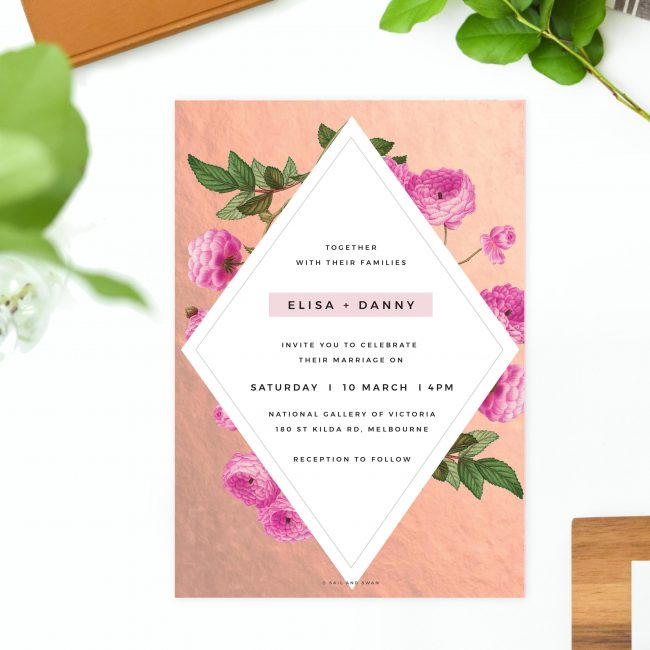 Floral Rose Gold Foil Marble Wedding Invitations Modern Pink Rose Simple Elegant Wedding Invites Australia Sydney Perth melbourne US United States Sail and Swan