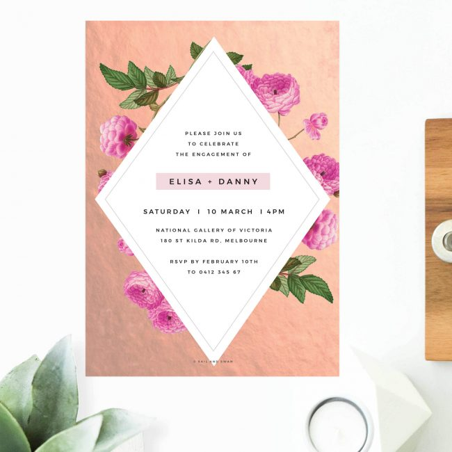 Modern Pink Floral Rose Gold Foil Marble Engagement Invitations Australia Sydney Canberra Perth Melbourne Brisbane United States New York Los Angeles New Zealand Auckland Sail and Swan