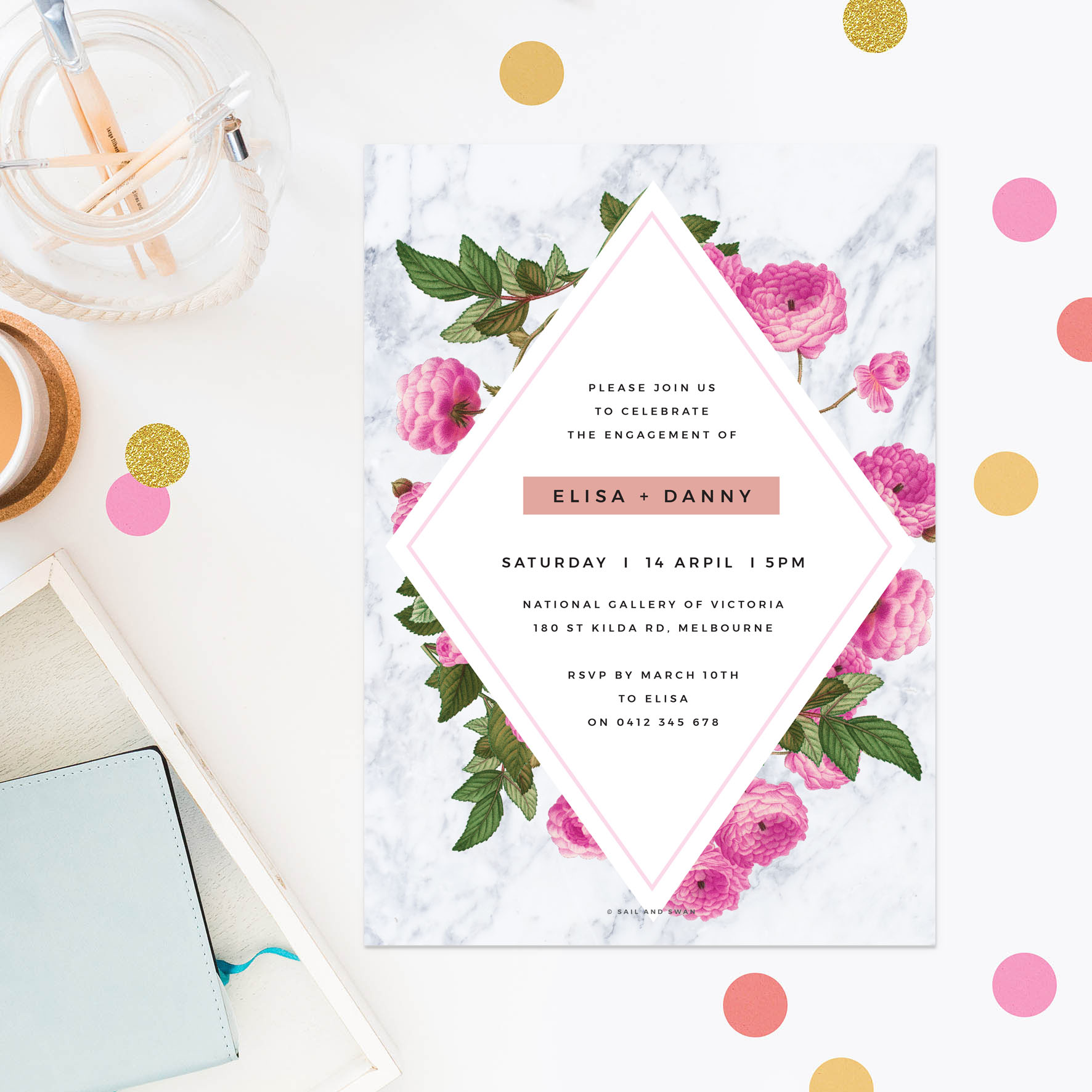 Floral Marble Rose Gold Engagement Invitations