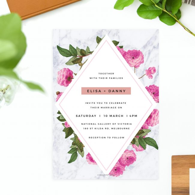 Floral Marble Pink Rose Gold Wedding Invitations Modern Invites Australia perth sydney melbourne brisbane united states us new york new zealand sail and swan