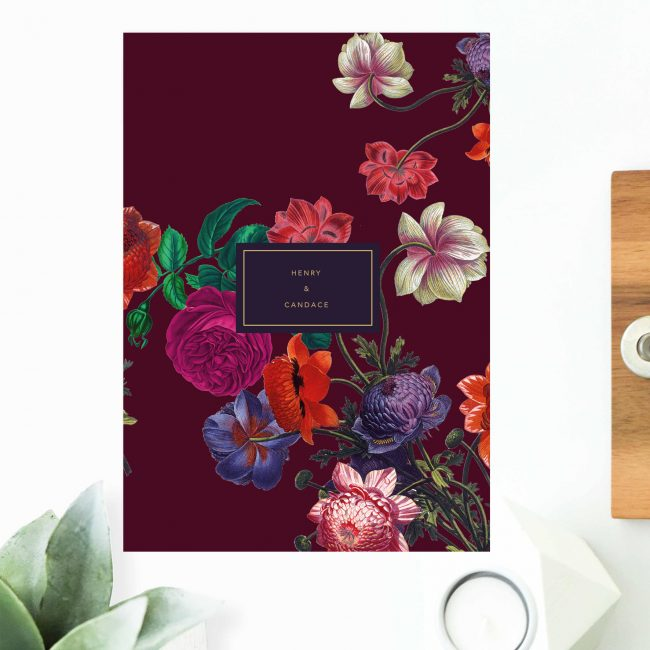 Floral Burgundy Engagement Invitations Australia sydney Perth Melbourne Canberra brisbane United States New York Los Angeles California New Zealand Auckland Engagement Invites Sail and Swan