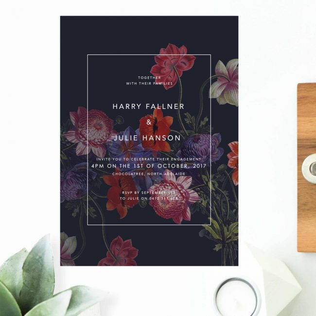 Modern Moody Dark Floral Engagement Invitations Contemporary Engagement Invites Australia Sydney Melbourne Perth Canberra Brisbane United States New York Los Angeles California New Zealand Auckland UK Sail and Swan