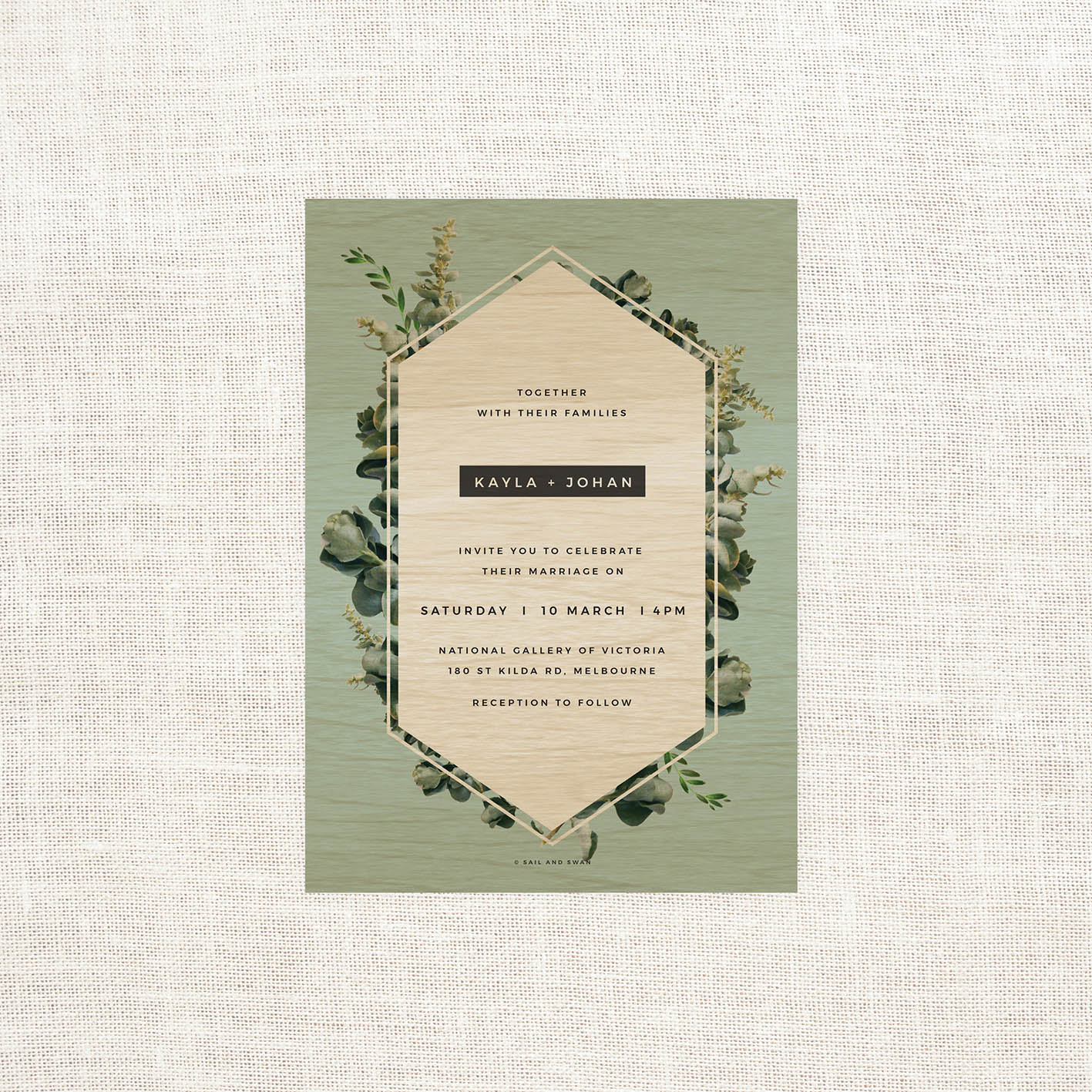 Natural Modern Outdoor Wedding Invitations