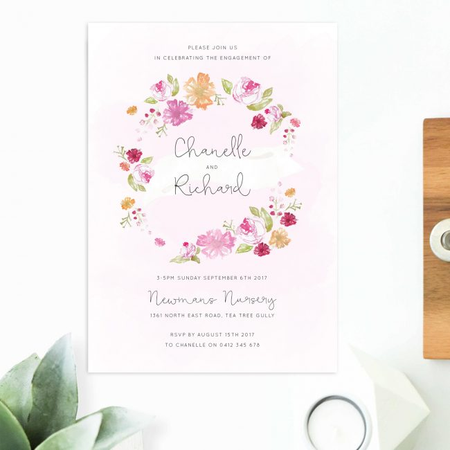 Pastel Floral Wreath Engagement Invitations Australia Sydney Perth Canberra melbourne Brisbane New York United States Los Angeles California New Zealand United Kingdowm Engagement Invites Sail and Swan