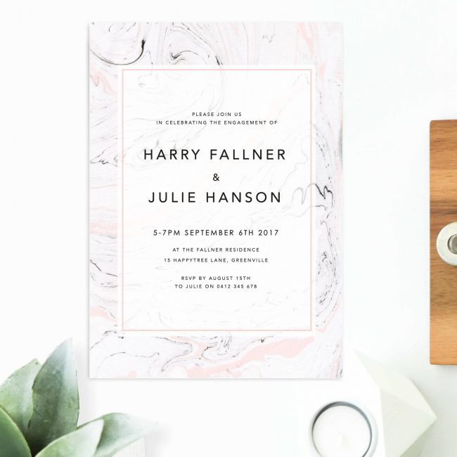 Pink and Grey Marble Engagement Invitations Australia Sydney Perth Canberra Melbourne Brisbane United States New York Los Angeles California New Zealand UK Engagement Invites Sail and Swan