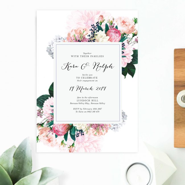 Native Floral Engagement Invitations Vintage Botanical Engagement Invitations Australia Perth Sydney Melbourne United States New York Los Angeles California Sail and Swan