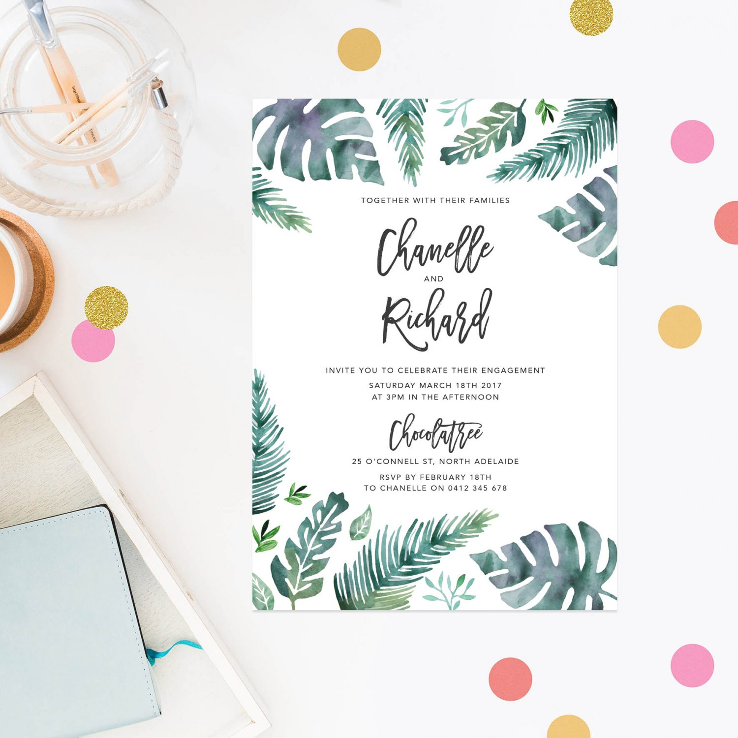 Tropical Engagement Invitations - Tropical Monstera Leaves
