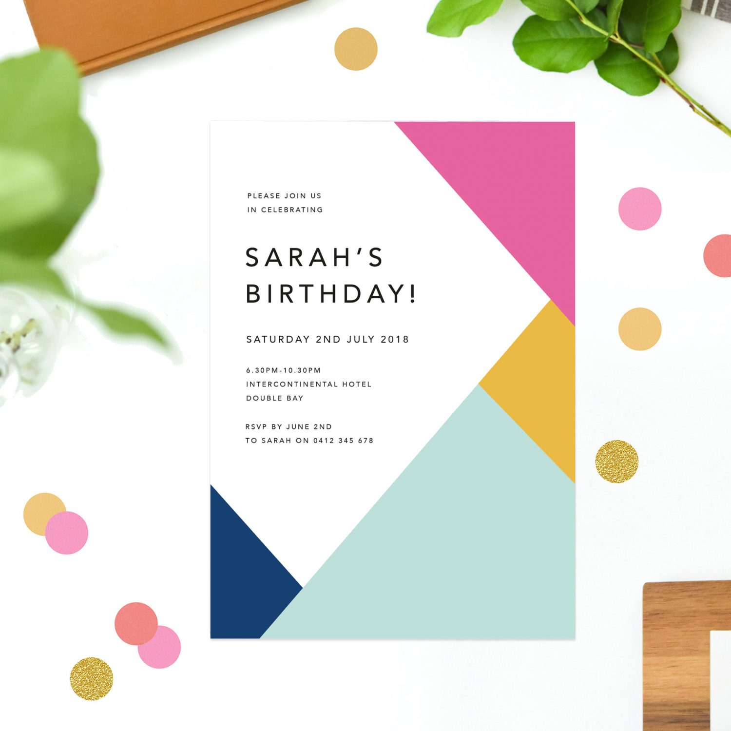 Vibrant Colours Summer Birthday Invitations - Pink Yellow Green Blue