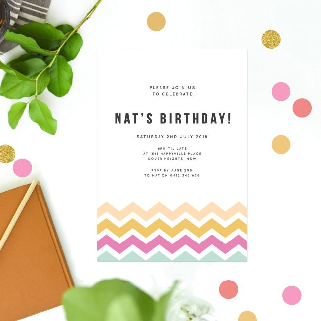 Birthday invitations australia sail and swan studio colourful chevron pattern birthday invitations summer birthday invites tropical birthday invitations australia sydney perth melbourne brisbane filmwisefo