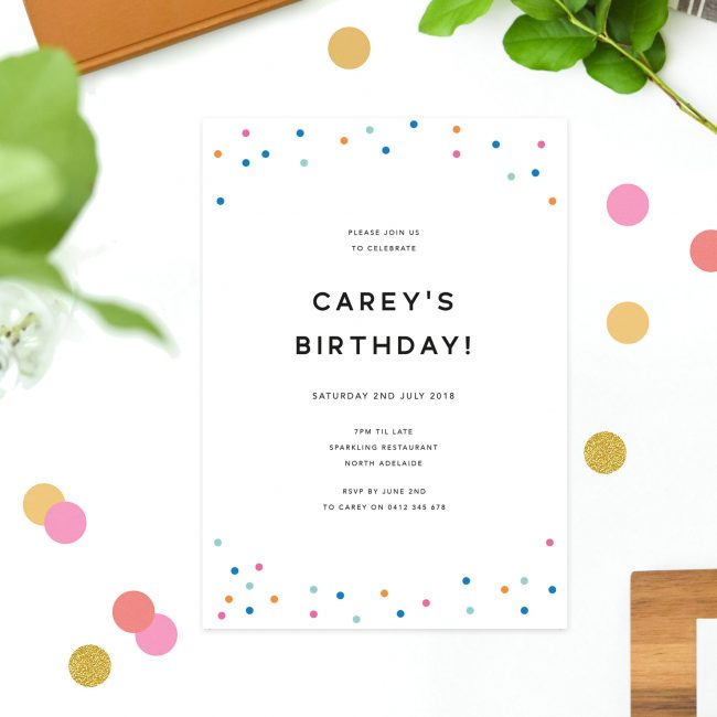 Modern Simple Minimal Birthday Invitations Colourful Confetti Pink Blue Birthday Invites Australia Sydney Melbourne Perth United States New York California UK London United Kingdom Callsy Stylish Elegant Birthday Invitations Sail and Swan