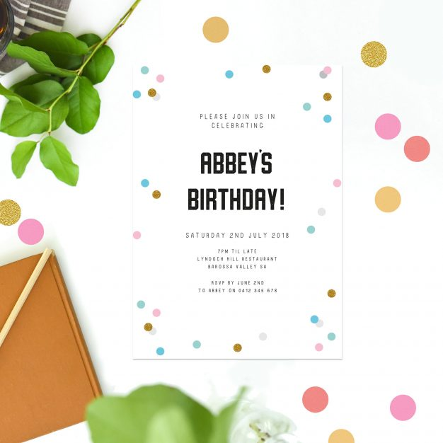 Fun Confetti Birthday Invitations Blue Pink Yellow Gold Birthday invites Australia Sydney Perth Melbourne Canberra United States New York California New Zealand UK United Kingdom London Sail and Swan