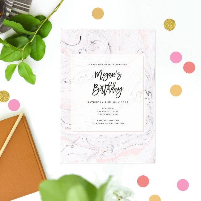 Elegant Marble Birthday Invitations Pink Marble Swirl Marbled Calligraphy Chic Stylish Sophisticated Birthday invites Australia Sydney Perth Canberra Melbourne New York United States California United Kingdom UK London Sail and Swan