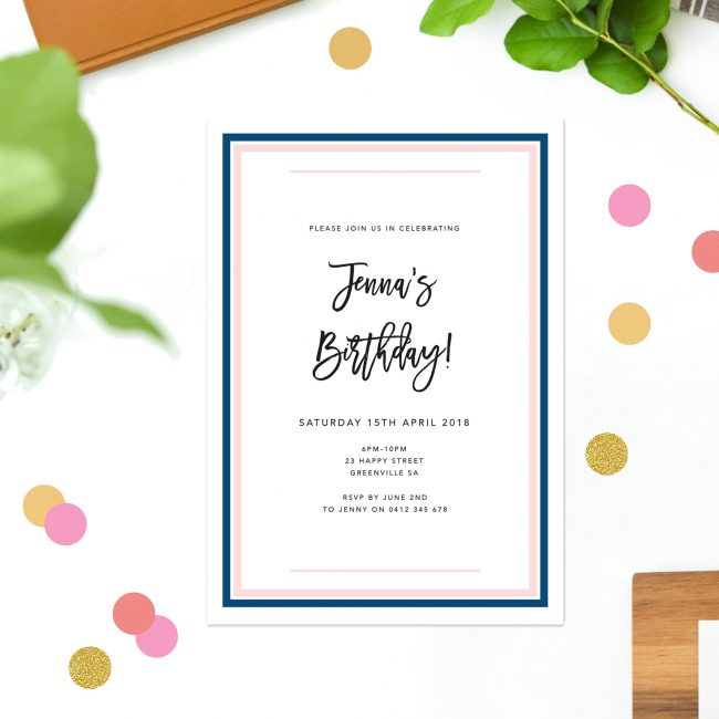 Pink Navy Border Birthday Invitations Simple Classy Stylish Luxury Birthday Invitations Australia Sydney melbourne Perth United States New York California UK London New Zealand Sail and Swan